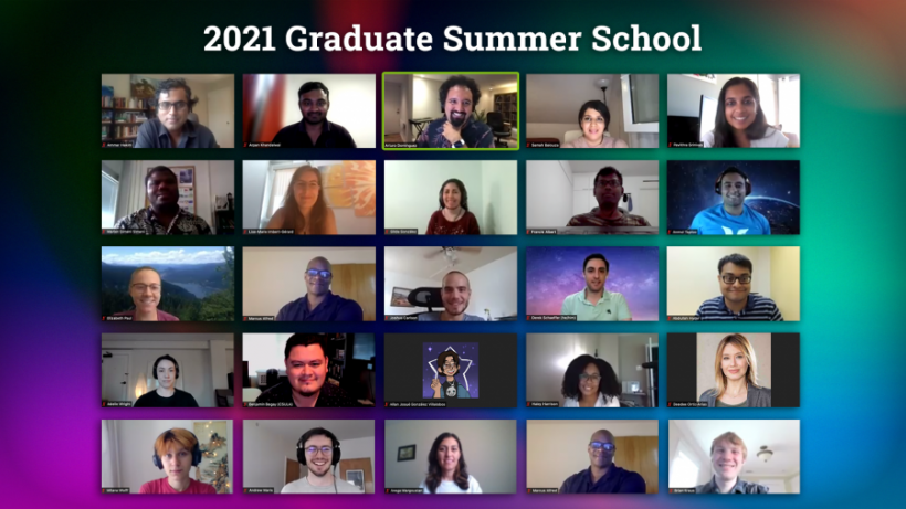 Graduate Summer School participants with organizers Arturo Dominguez, top center, a senior program leader in PPPL's Science Education Office; and Deedee Ortiz, fourth row, far right, Science Education program manager.