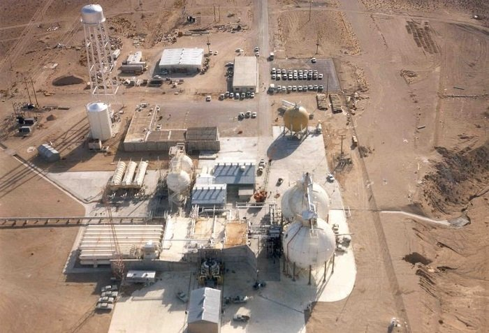 An archive photo of the Test Cell C (TCC) complex at the Nevada National Security Site. The TCC and Engine Maintenance, Assembly, and Disassembly complexes are being prepared for demolition and closure.