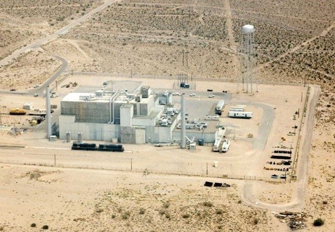 An aerial view of the Engine Maintenance, Assembly, and Disassembly (EMAD) complex on the Nevada National Security Site. The EM Nevada Program is preparing to demolish and close the EMAD and Test Cell C complexes.