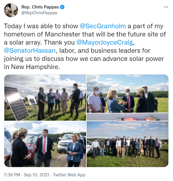 Today I was able to show @SecGranholm a part of my hometown of Manchester that will be the future site of a solar array. Thank you @MayorJoyceCraig, @SenatorHassan, labor, and business leaders for joining us to discuss how we can advance solar power in New Hampshire.