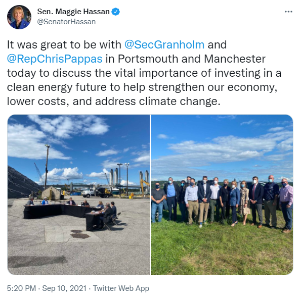 It was great to be with @SecGranholm and @RepChrisPappas in Portsmouth and Manchester today to discuss the vital importance of investing in a clean energy future to help strengthen our economy, lower costs, and address climate change.