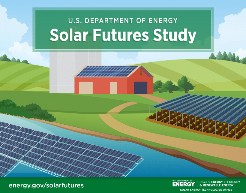 Graphic depicting solar panels floating on water and suspended over farmland
