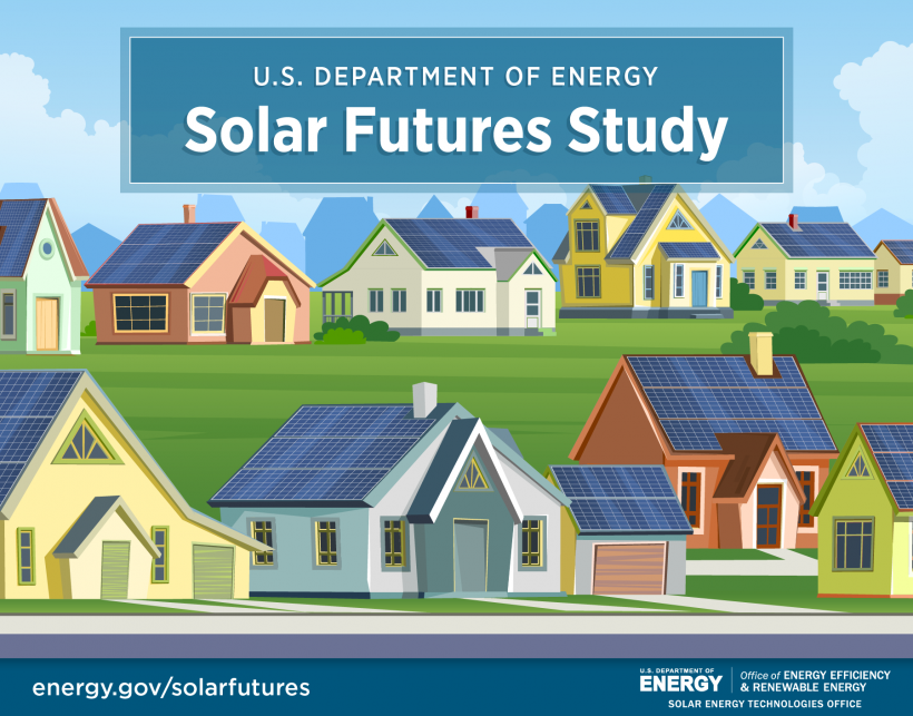 Graphic depicting solar on the rooftops of several neighboring houses