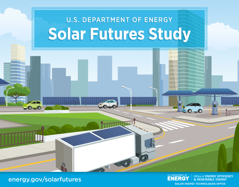 Graphic depicting solar panels on trucks, electric vehicle charging stations, and buildings