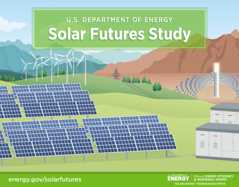 Graphic depicting solar panels, concentrating solar-thermal power, batteries, and windmills on a landscape backdrop