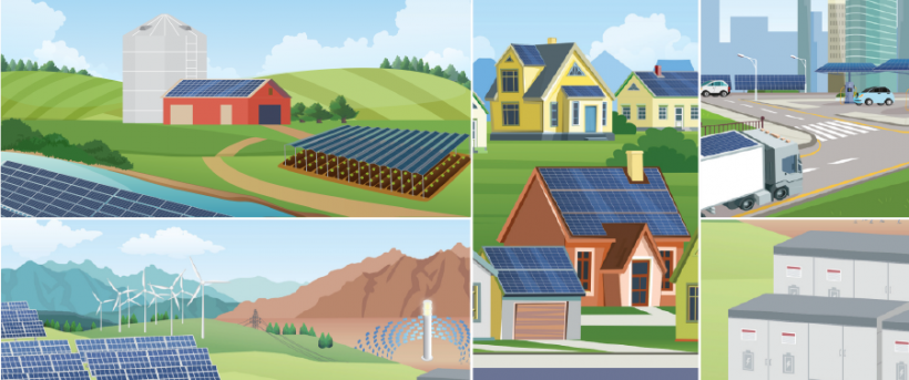 Illustrations of solar panels in different locations