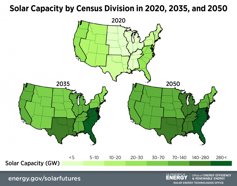 Three U.S. maps showing how much solar capacity would increase in each census division in 2020, 2035, and 2050