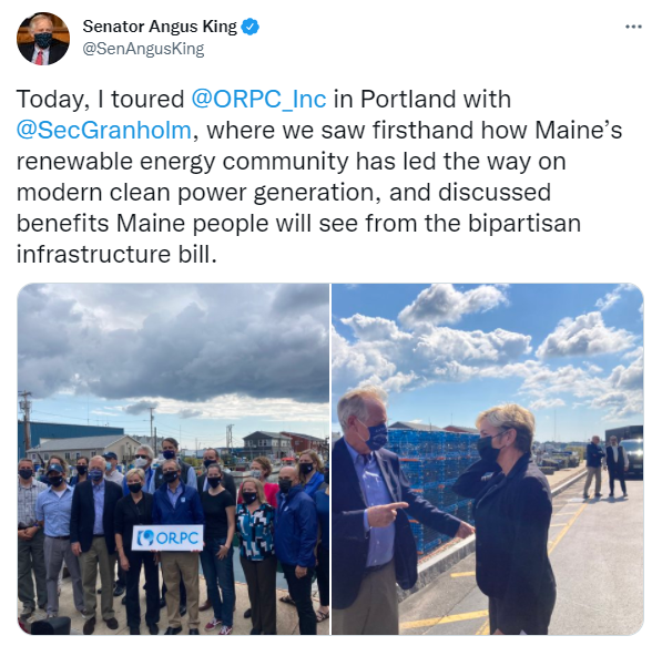 Sen. Angus King: Today, I toured @ORPC_Inc in Portland with @SecGranholm, where we saw firsthand how Maine's renewable energy community has led the way on modern clean power generation, and discussed benefits Maine people will see from the bipartisan infrastructure bill.
