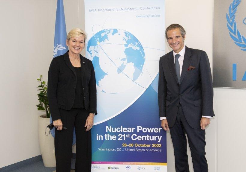 U.S. Secretary of Energy Jennifer M. Granholm and International Atomic Energy Agency (IAEA) Director General Rafael Grossi at the IAEA 65th General Conference in Vienna, Austria.