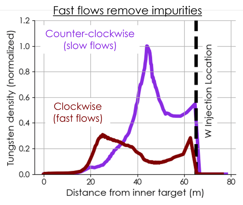 Simulation results showing tungsten density at the interface of the plasma's edge and core for both magnetic field directions. Fast flows that often occur in the clockwise magnetic field direction reduce the accumulation of tungsten impurities.