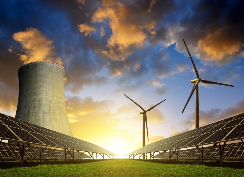 Solar panels wind turbines and nuclear reactor
