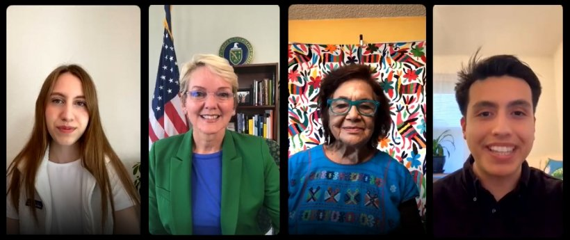 A picture of four people smiling during an Instagram Live event. From left to right: Alexandria Villasenor, Secretary Jennifer Granholm, Dolores Huerta, and Isaias Hernandez.