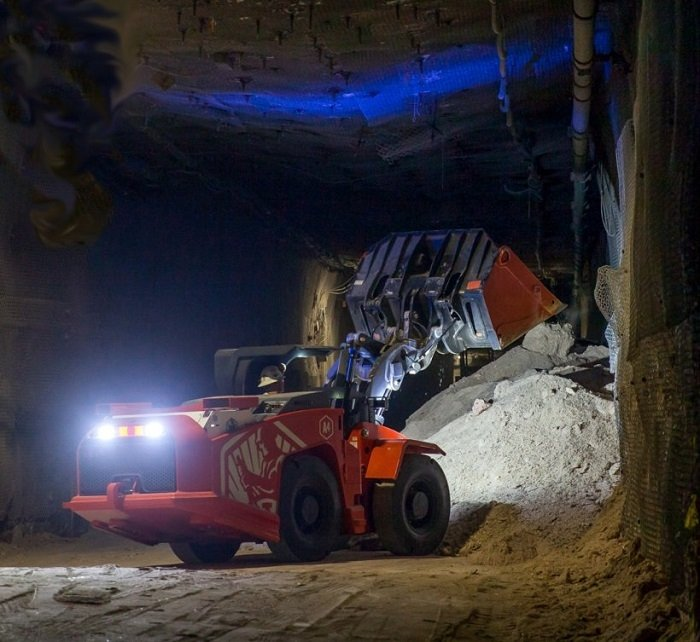 A battery powered load-haul-dump loader moves mined salt in the EM Waste Isolation Pilot Plant underground. Increasing the use of electric vehicles is among EM actions to support the Administration's executive orders on climate change policy.