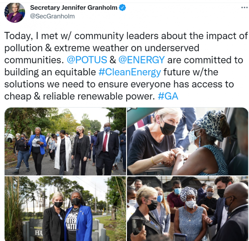 """A Twitter post of several photos of Secretary Granholm speaking to people in Savannah, Georgia with a post above that reads, """"Today, I met with community leaders about the impact of pollution and extreme weather on underserved communities. @POTUS and @ENERGY are committed to building an equitable #CleanEnergy future with the solutions we need to ensure everyone has access to cheap and reliable renewable power. #GA"""""""