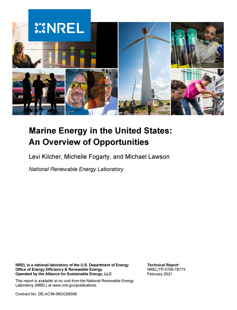 "Report cover that says ""Marine Energy in the United States: An Overview of Opportunities"""
