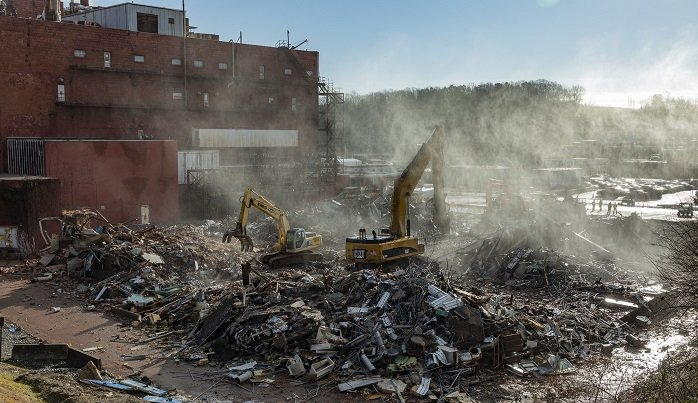 Workers recently finished demolition on Building 9210 at Oak Ridge. They will clear away the debris in the weeks ahead.