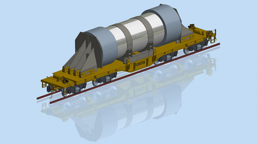 Graphical rendering of Fortis railcar design with spent nuclear fuel cask.