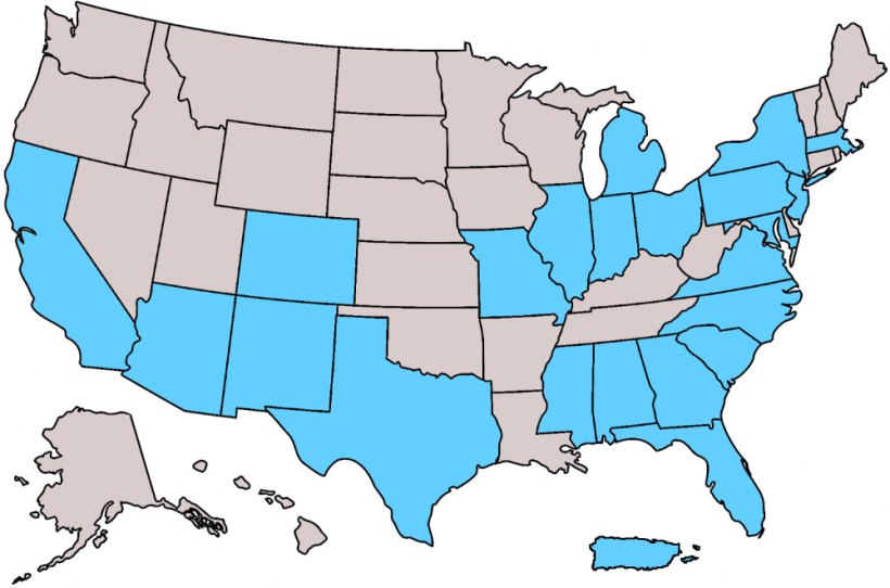 A map of the United States showing that MEISPP students came from various states and territories.