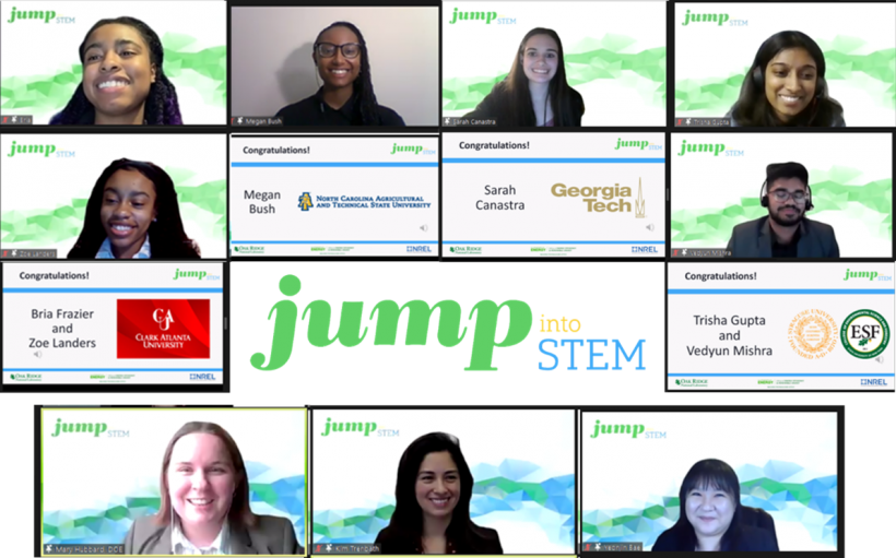 Screenshot of a virtual meeting, with screens shown of student attendees and the Jump Into STEM logo in the center.