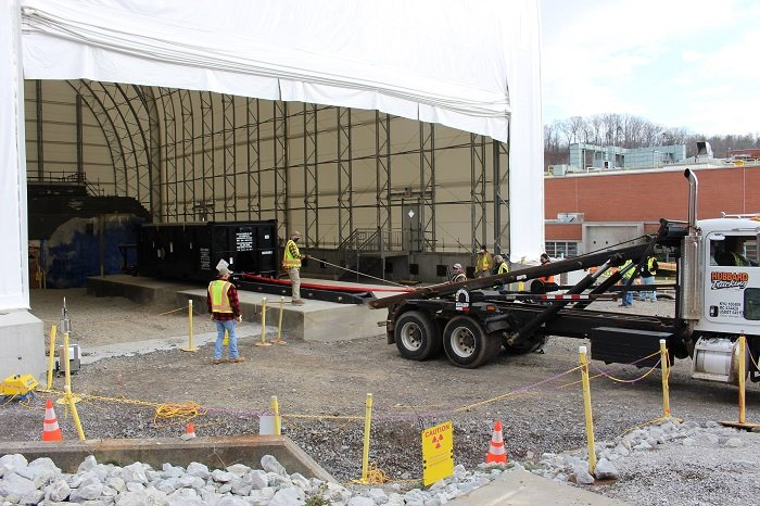 Workers constructed and installed an intermodal rail system that provides a safe way to transport debris from the demolition of hot cells at the former Radioisotope Development Lab at the Oak Ridge National Laboratory.