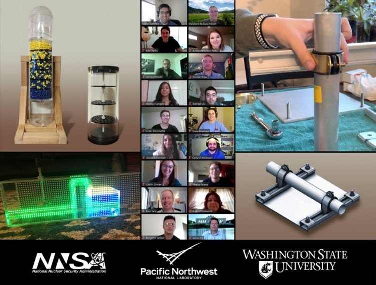 Washington State University students delivered two nonproliferation projects: props used in safeguards training courses on nuclear fuel reprocessing, left, and a mounting bracket for a new online enrichment monitor the IAEA could use.