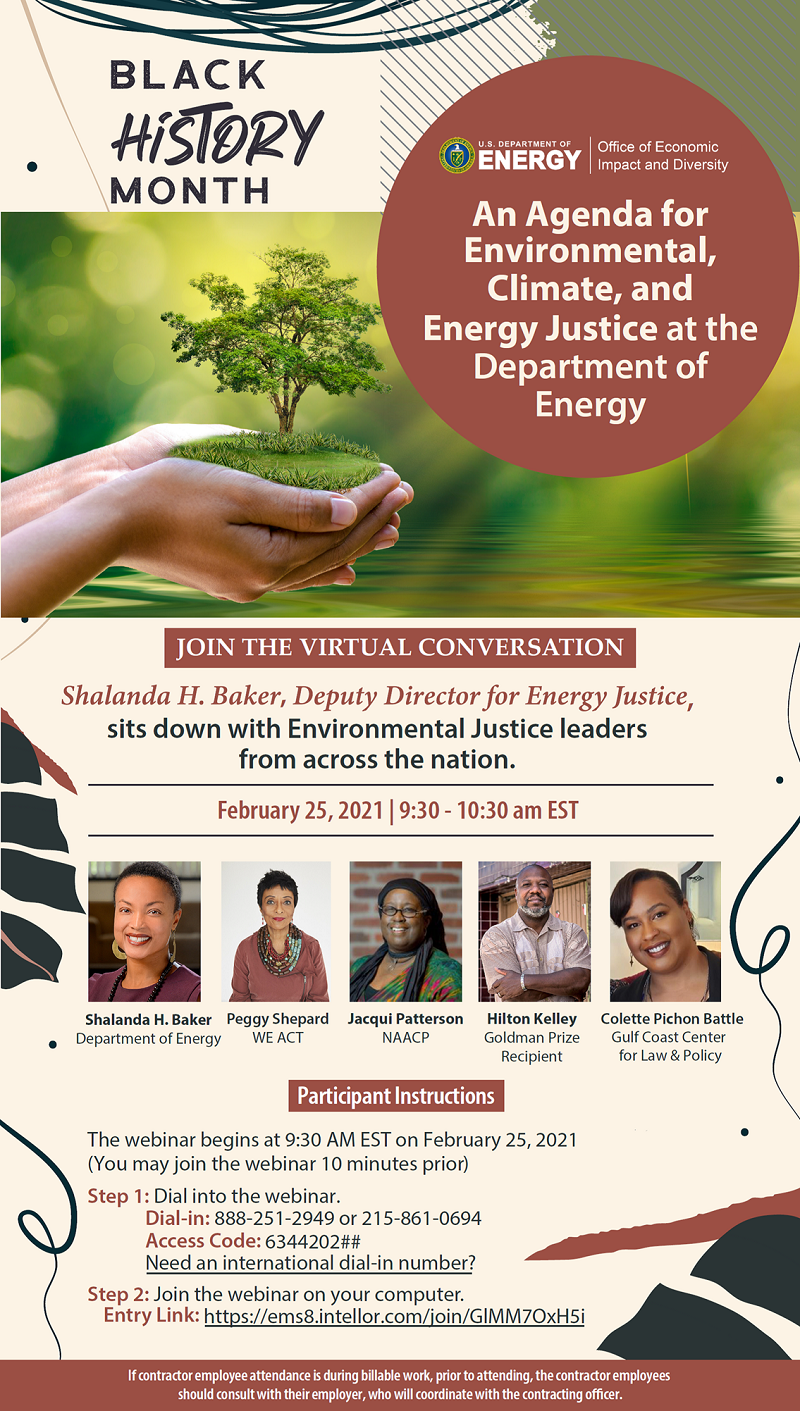 Flyer for An Agenda for Environmental, Climate, and Energy Justice at the Department of Energy