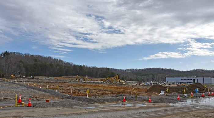 A view of the site where crews removed the building slab for the Centrifuge Complex. The project, scheduled for completion this spring, will result in a grassy field available for transfer from government ownership for economic development.