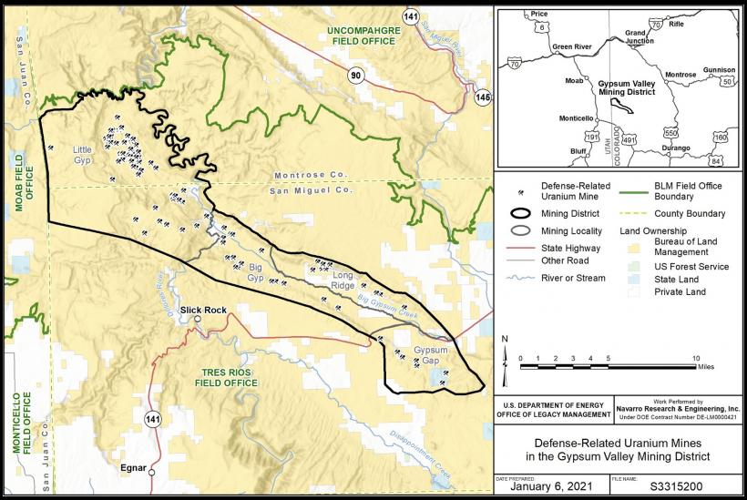 Regional map DRUM mines of the Gypsum Valley Mining District, Colorado.