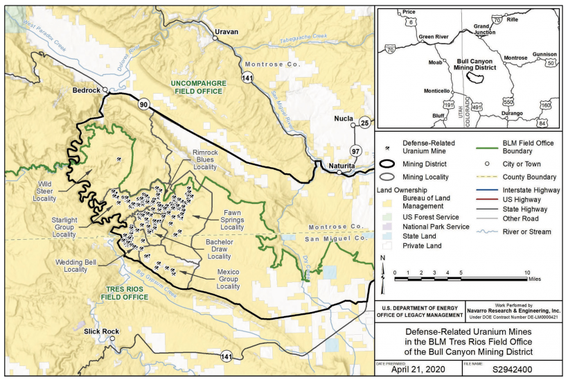 Regional Map of DRUM mines in the Bull Canyon Mining District, Colorado.