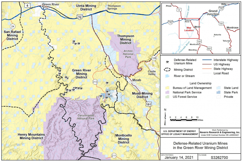Regional Map of DRUM mines in the Green River Mining District, Utah.