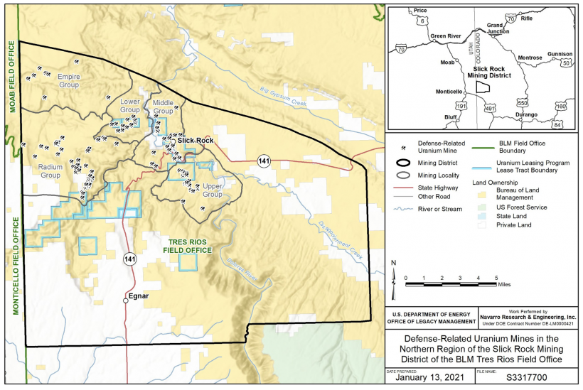 Regional map of the DRUM mines in the Northern Slick Rock Mining District, Colorado.