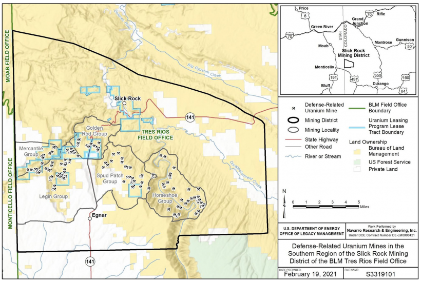 Regional map of DRUM mines in the Southern Slick Rock Mining District, Colorado.