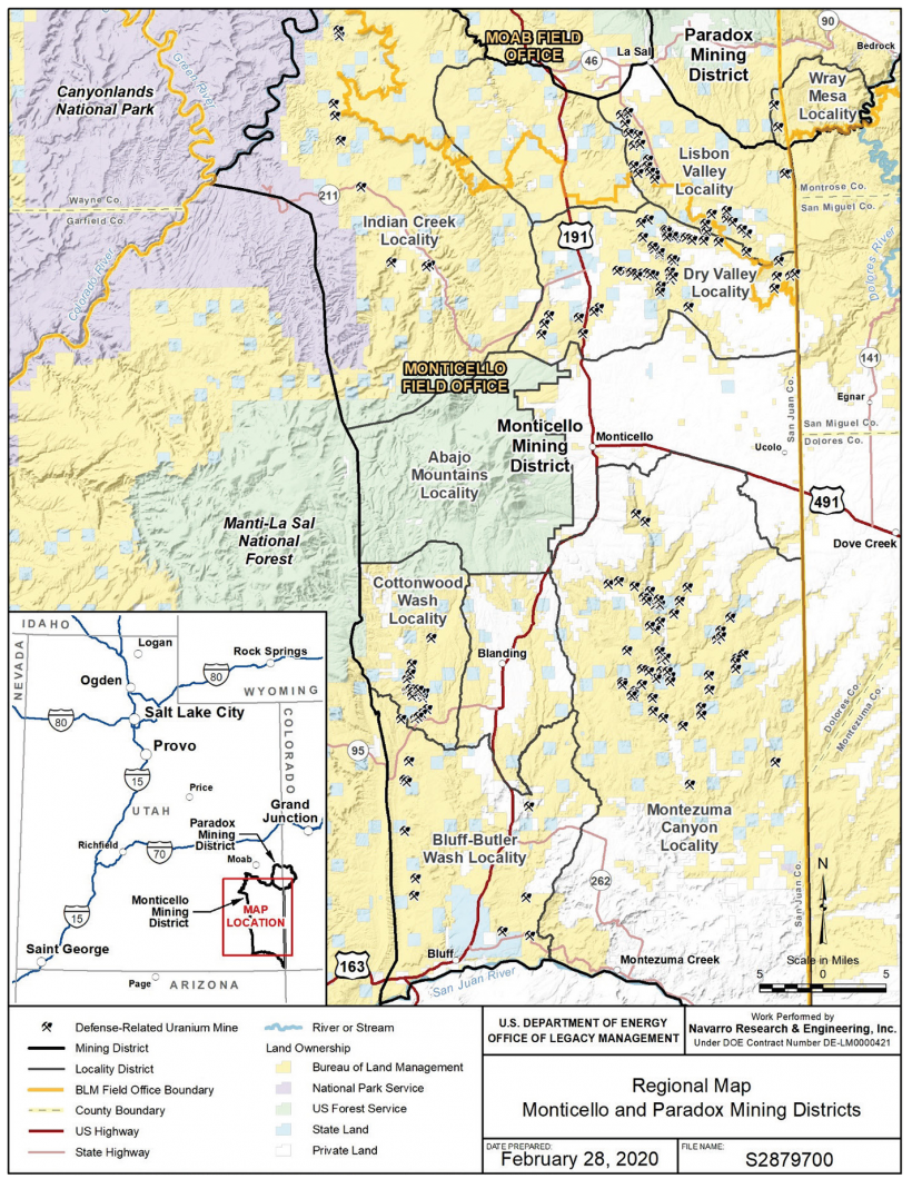 Regional map of the Monticello Project DRUM mines and Associated Mining Districts and Localities, Utah.