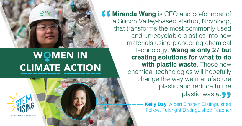 Miranda Wang, CEO of Novoloop, is a source of inspiration for DOE's Kelly Day.