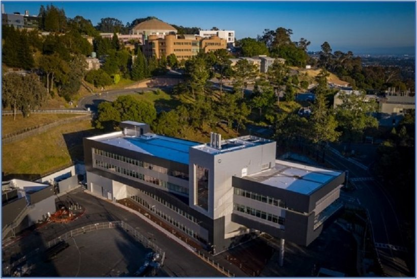 Aerial Photograph of the Integrated Genomics Building with the Advanced Light Source historic dome in the background.