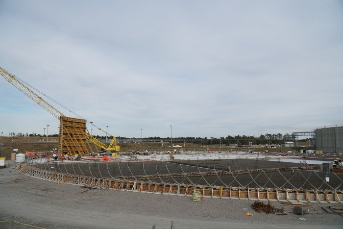 The first wall section of Saltstone Disposal Unit 8 is being constructed at the Savannah River Site.