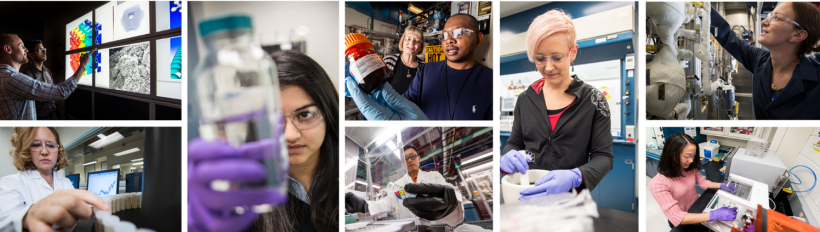 A montage of men and women working in a lab.