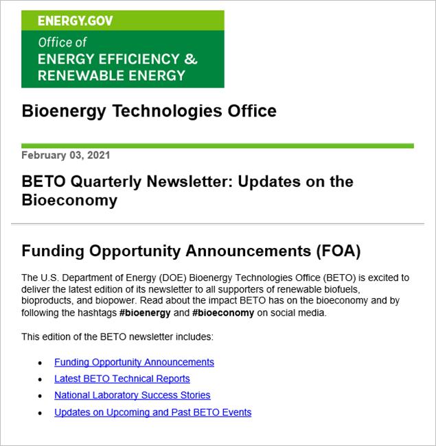Screenshot of the BETO newsletter