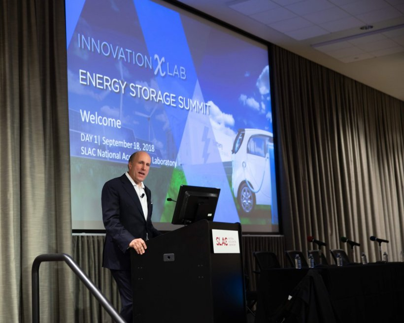 Paul Dabbar, Undersecretary for Science at the U.S. Department of Energy, addresses the first InnovationXLab Initiative summit held at SLAC National Accelerator Laboratory in Menlo Park, California.