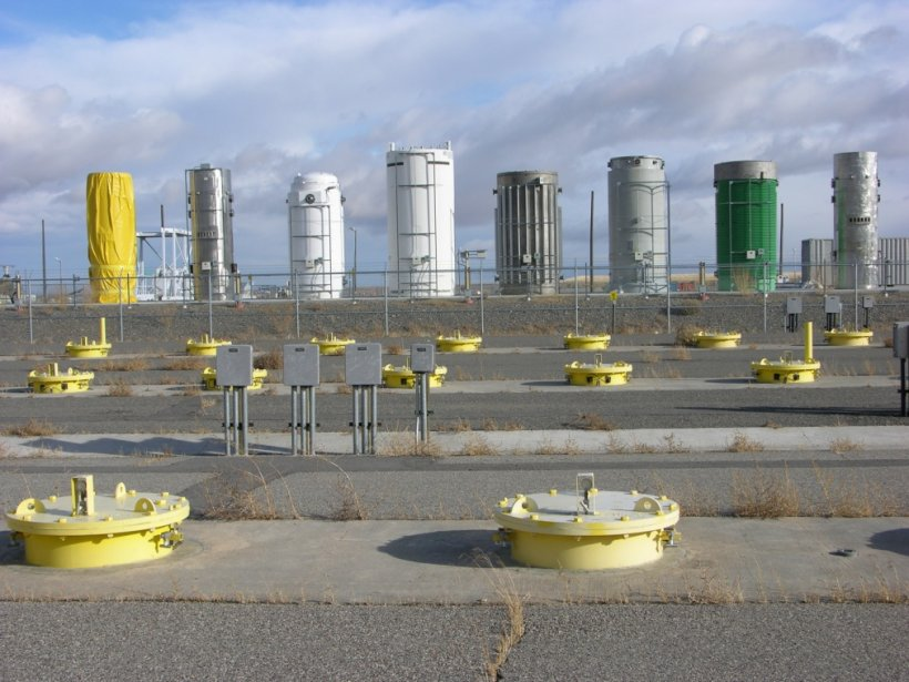 Idaho National Laboratory safely housed dry storage casks and in-ground spent nuclear fuel storage photograph