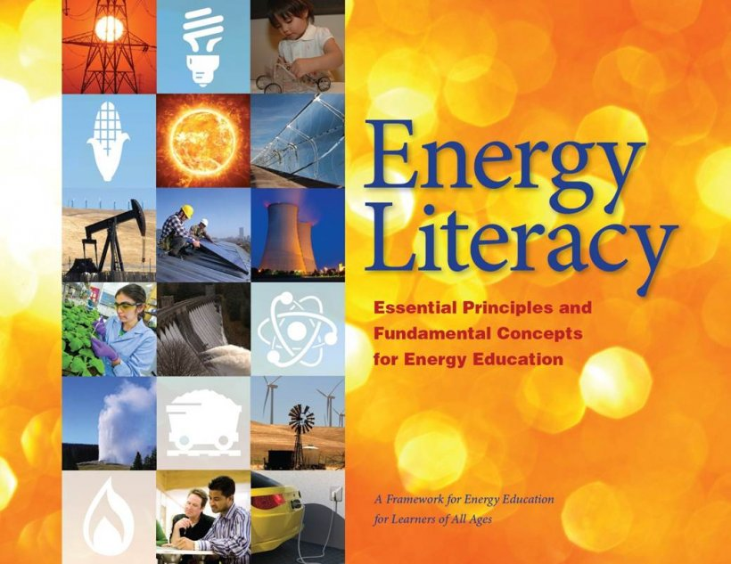 Front cover of the Energy Literacy booklet with a mosaic of photos on the left showing clean energy and a yelow and orange design on the right.