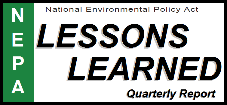 Graphic for DOE NEPA Lessons Learned Quarterly Report