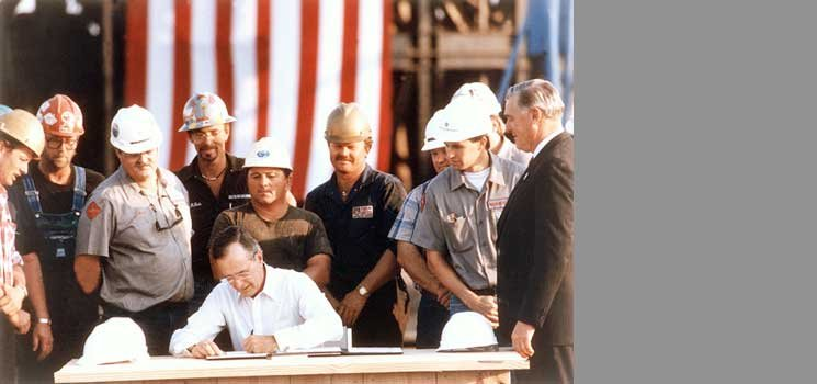 President Bush signs the Energy Policy Act of 1992, which assists the implementation of the National Energy Strategy.