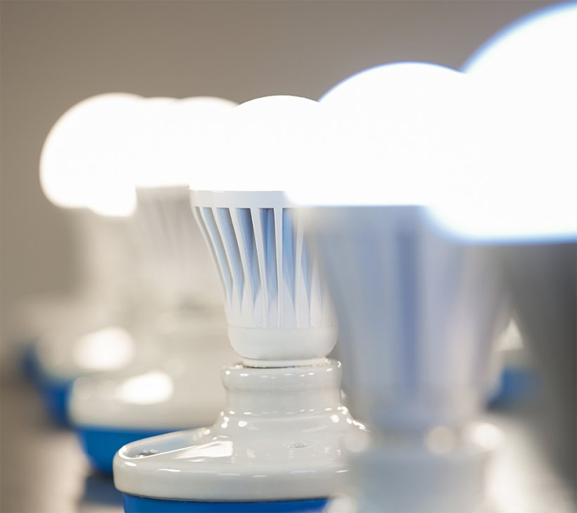 Several LED lightbulbs lined up in a row.