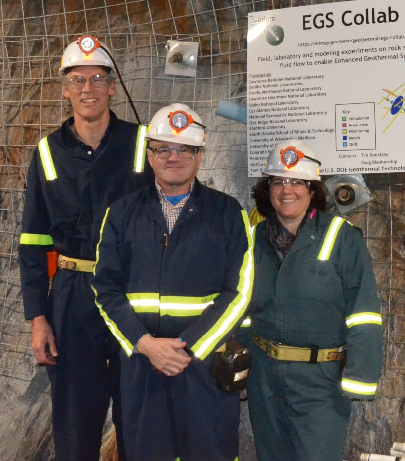 GTO director Susan Hamm (right) visits the EGS Collab site in South Dakota, alongside colleagues Tim Kneafsey of Berkeley Lab (left) and Deputy Assistant Secretary Tim Unruh (center).