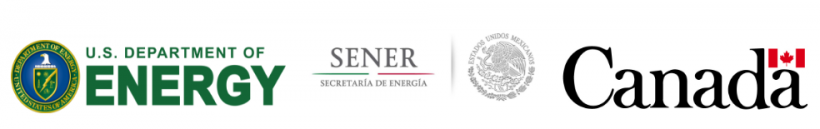 Logos for the respective Departments of energy for the United States, Mexico, and Canada