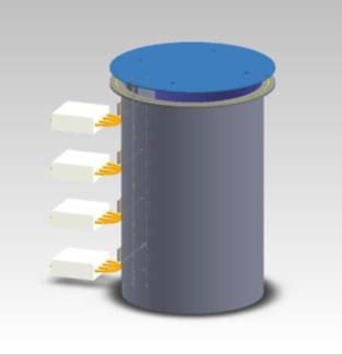 Photo of Sheetak's low-cost heat pump water heater.