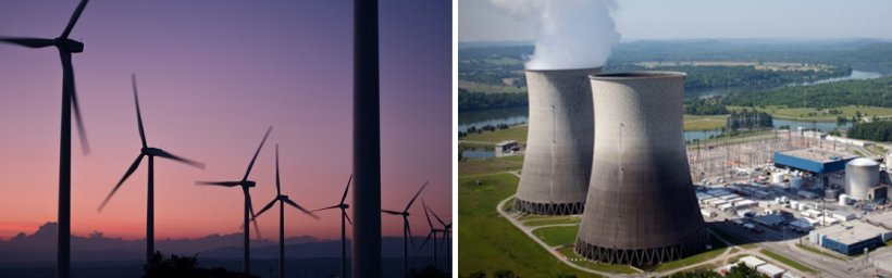 Two images side by side: One of a field of wind turbines at dusk, and the other of a nuclear power plant.