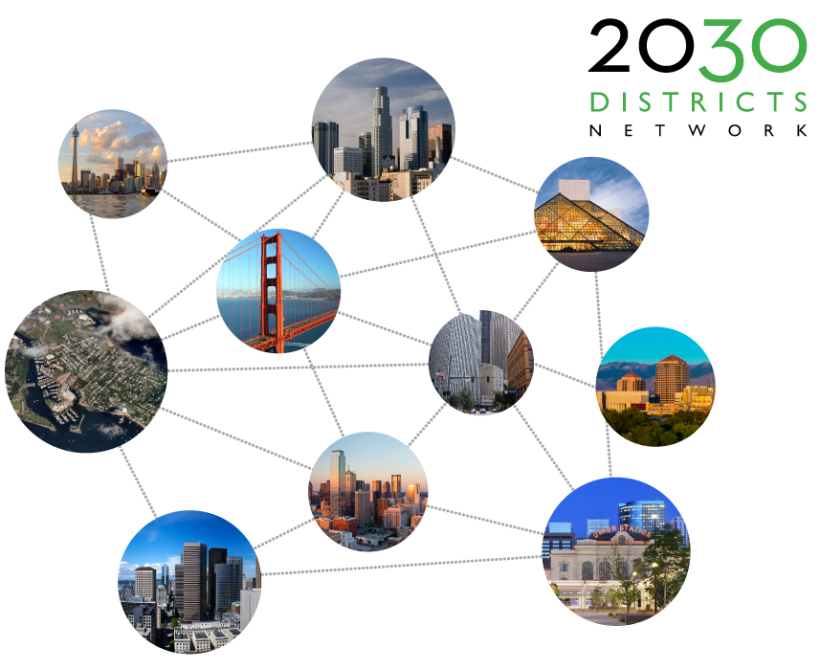"""Collage of circle photos of building exteriors connected by lines, with the headline wording, """"2030 District Networks."""""""