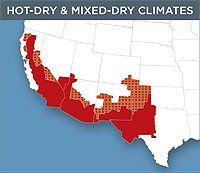 Map of the Hot-Dry and Mixed-Dry Zone of the United States. The zone contains the eastern side of California and follows the US border to cover the western half of Texas.